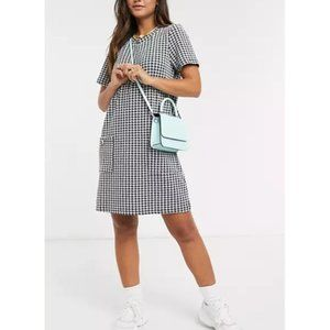 BRAVE SOUL LONDON SHIFT DRESS HOUNDS TOOTH XS ASOS